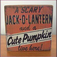 SCARY JACK-O-LANTERN & A CUTE PUMPKIN WALL ART SIX INCHES SQUARE FREE U.S. SHIP