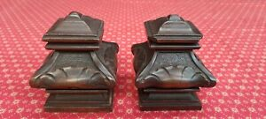 PAIR OF ANTIQUE FRENCH HAND CARVED WALNUT DECORATIVE CORBELS - C1900