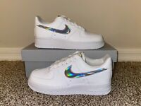 Nike Air Force 1 '07 Low White Iridescent Swoosh Women's Sneakers CJ1646-100 NEW