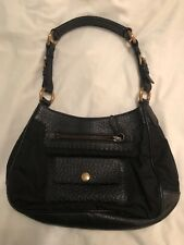 Prada small black nylon and leather handbag purse excellent condition used