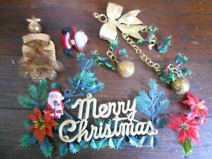 VINTAGE 6 LOT MERRY CHRISTMAS SIGN SANTA  ANGEL GOLD GLITTER HOLLY HANGER BALLS