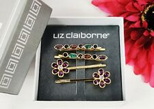 New Liz Claiborne Rhinestone Hair Pins Multi-colored Flowers NIB