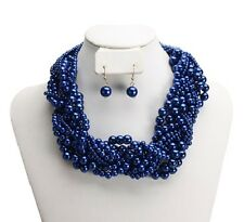 Blue Pearl Beaded Twisted Necklace W Matching Dangling Earrings
