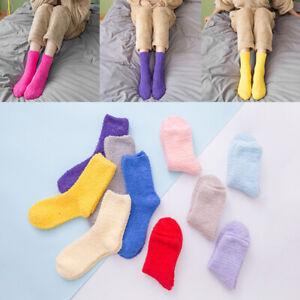 1Pair Coral Fleece Floor Socks Winter Fluffy Mid-Calf Short Hosiery Warmer