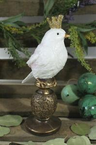 süßer Vogel mit goldenem Krönchen Krone weiß Ostern Vintage Deko Shabby