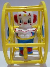 Vintage Baby Bozo the Clown n Rolling Plastic Wheel Collectable Circus Baby Toy