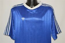 vintage 90s ADIDAS BLUE WHITE STRIPED SOCCER JERSEY FOOTBALL TREFOIL t-shirt XL