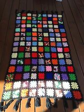 """Vintage Hand Crocheted Granny Square Afgan With Fringe 57""""x32"""" Multicolor"""