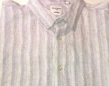 Men's Blair Mcnutt Linen Murano Purple and White Short Sleeve Stripe Shirt XL