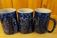 3 blue w/white speckle coffee cups 16 oz. Granitware look
