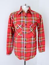 Vtg 60s Red Plaid Cotton Flannel Pre-Shrunk USA Union Made Lumberjack Shirt S