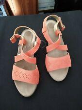 New Ladies Scholl Orange Wedge Sandals Size 4