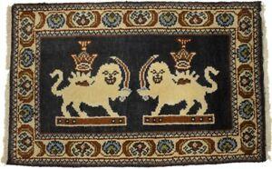 Handmade Black Pictorial Kazak 2X3 Lion Design Oriental Rug Kitchen Wool Carpet
