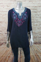 Flying Tomato Long Sleeve Tunic Top Womens Size Medium Navy Blue Floral Fringes