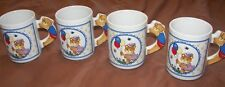 "4 Vintage Teddy Bear Glass Mugs - 3  3/4"" Tall"
