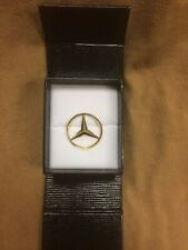 Vintage 1970's, 1980's Mercedes Benz 14K gold emblem pin w/ locking clasp in box