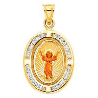 14k Real Solid Yellow Gold Divine Infant Jesus Nino CZ  Pendant Oro Solido Dije