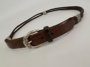 Fossil Leather Belt 34 Bullwhip Braided Brown Distressed