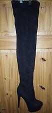 Ladies Faux Suede Thigh High Platform Boots Black 39
