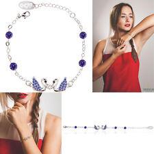 New! Rhodium Plated Bracelet w/ Loving Swans Design & Purple Crystals by Matashi