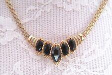 "14K gold & onyx chevron necklace -bismark chain pattern -9.5 grams - 17"" vintage"