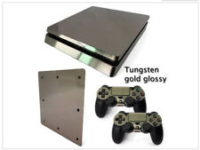 Sony PS4 Slim Console and Controller Skins / Decal -- Tungsten Gold Glossy Film