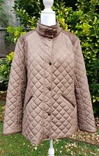 Lauren Ralph Lauren Brown Quilted Faux Leather Trim Equestrian Jacket L