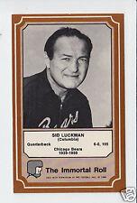 SID LUCKMAN Chicago Bears 1975 Fleer The Immortal Roll Football HOF CARD #33