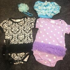 Baby Girls Clothes Romper Summer 3-6m 00 Nappy Cover Bloomer Headband