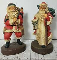 "Two (2) Hand Painted Resin Santa Claus Figurines Vintage mid-1900s 8"" Christmas"