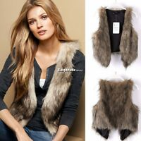Women Winter Faux Fur Waistcoat Gilet Jacket Coat Sleeveless Outwear Short Vest