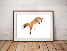 Fox Woodland Art Print, Inspired By Nature, Fox Jumping, Home Decor, Animal Art