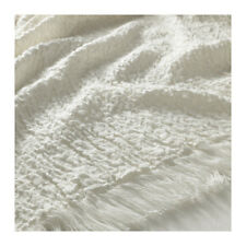"IKEA MATHEA OFF WHITE THROW BLANKET BEDSPREAD 47x 71"" SOFT COTTON BLEND FREESHIP"
