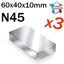 LOT DE 3 SUPER AIMANT MAGNET NEODYM N45 - 60x40x10mm - 125Kg
