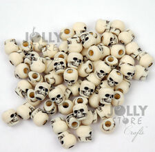 Ivory color Skull Pony Beads USA for halloween crafts paracord jewelry making