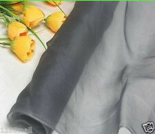 100% pure silk organza fabric French gray yardage bridal gauze tulle material
