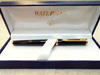 Waterman Preface Black  & Gold Fountain Pen 18K Gold Fine Pt In Box *