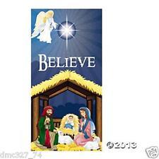 """CHRISTMAS Nativity """"BELIEVE"""" Bethlehem Angel Manger DOOR COVER"""