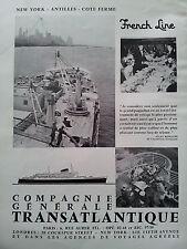 Publicité 1957  CGT French Line Transatlantique New York Marine paquebot ship