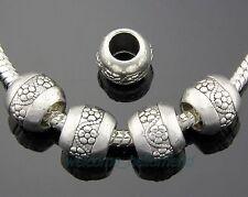 30pcs Tibetan Silver Flower Big Hole Beads Fit European Charm Bracelet ZY134