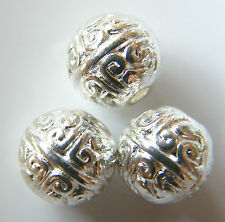 50pcs 8mm Round Metal Alloy Spacer Beads - Bright Silver