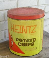 Vintage Heintz Potato Chips Tin Container Showing Band Majorette