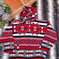 Tejidos Ruminahui Large L Red Aztec Hooded Zip Wool Sweater Jacket Alpaca Warm