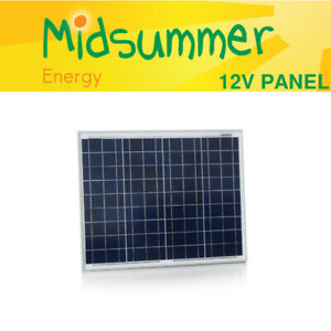 50W 12V Solar PV Polycrystalline Framed Panel - Caravan, Boat, Shed, Elec Fence