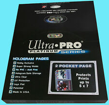 100 ULTRA PRO PLATINUM 2-POCKET Pages Sheets Protectors Photo Print Postcard