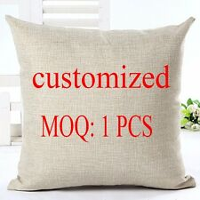 Custom Photo Pillow Cushion Cover Linen Cotton Sofa Bedroom Living Room Gift