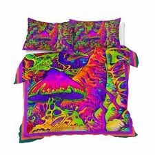 Esha Bedding Set Psychedelic Quilt Cover Queen Size Colorful Mushroom Bed Set