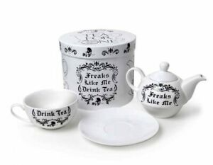 Alchemy England - Teapot Set, 'Freaks Like Me Drink Tea', Cup Gothic Skull, Gift