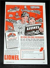 1941 OLD MAGAZINE PRINT AD, LIONEL ELECTRIC TRAINS, BIG NEWS FOR RAILROADERS!