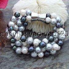 "S092814 8"" 4Strands 9-10MM Round Multi Color Pearl Bracelet"